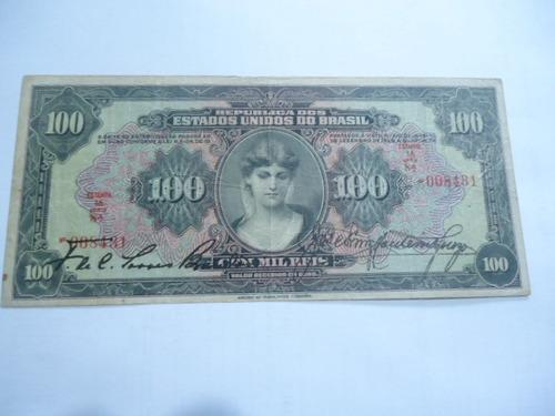 cédula de 100 mil réis de 1927 r 187 mbc+  série 8a