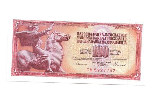 cedula estrangeira - iuguslavia  100dinara de 1986 - fe
