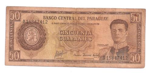 cedula estrangeira - paraguai 50 guaranies - mbc