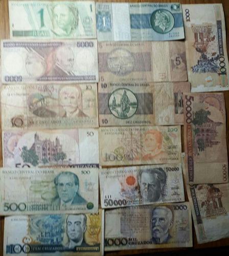 cedulas  antiga dinheiro cruzeiro e cruzado