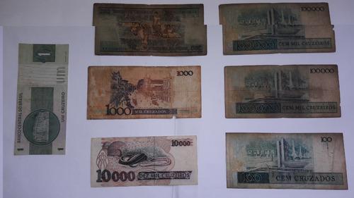 cédulas antigas (1,100,200,1000,10000,100000) cruzeiros, cz$