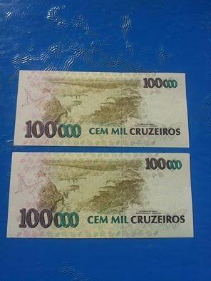 cedulas cem mil cruzeiros c/ carimbo - ano 1993