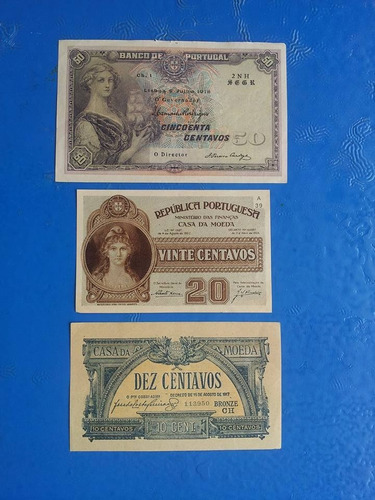 cédulas dez/vinte/e cincoenta centavos bronze /casa da moeda
