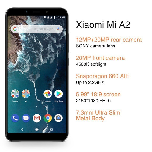 cel smartphone xiaomi 128g mi a2 snapdragon 660 android one
