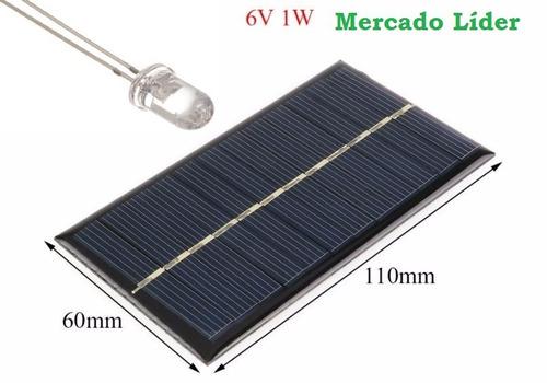 célula painel placa energia solar fotovoltaica 6v 1w watts