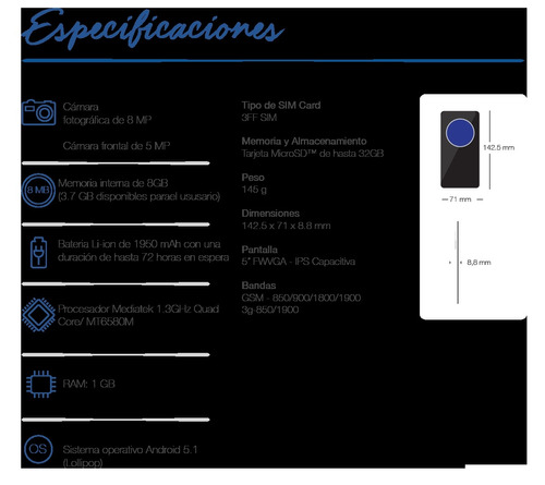 celular avvio q797 8gb con 1gb ram negro 8mp 3g