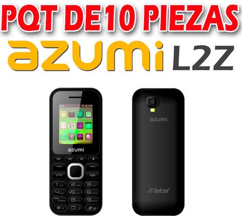 celular azumi l2z,pqt 10 pzas,tecla grandes,bt,cámara,mp3,fm