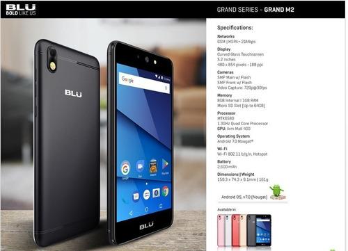 celular blu grand m2 pantalla 5.2  dual sim! funda regalo!