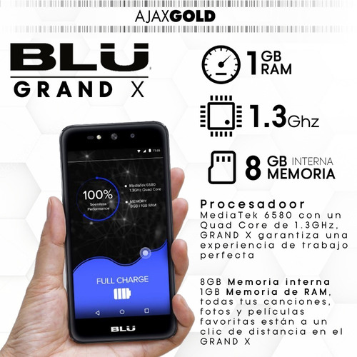 celular blu grand x 4g libre hd android 5mpx + film + funda