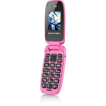 celular de flip up multilaser rosa dual chip mp3 - p9023