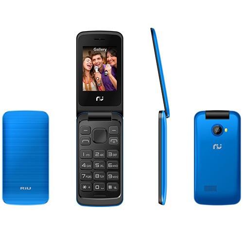 celular desbloqueado. riu flip 2.4, azul, 2 chips, radio