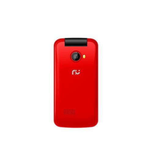 celular desbloqueado. riu flip 2.4, vermelho, 2 chips, radio