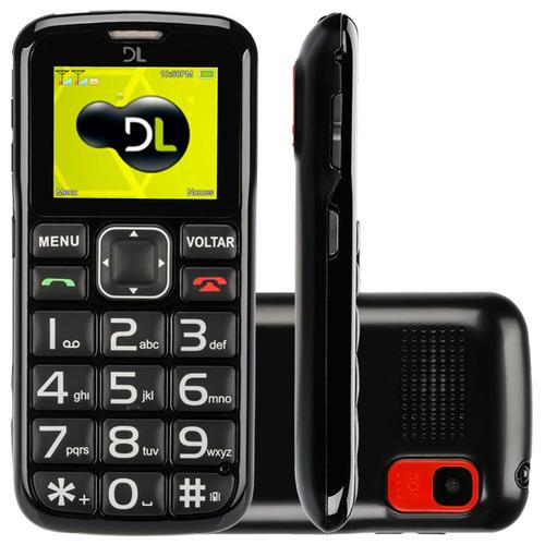celular dl yc110 preto - tela 1.8, dual chip, câmera e fm
