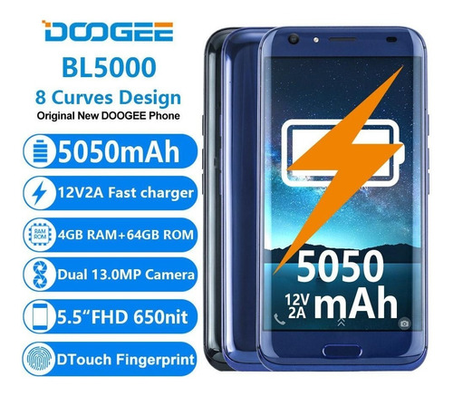 celular doogee bl5000 dualcam 13mp 4gb ram 64gb interna