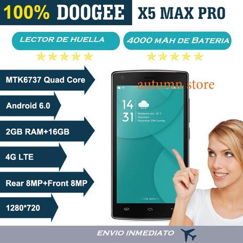 celular doogee x5 max pro 2gb 16 gb vidrio t, forro silicona