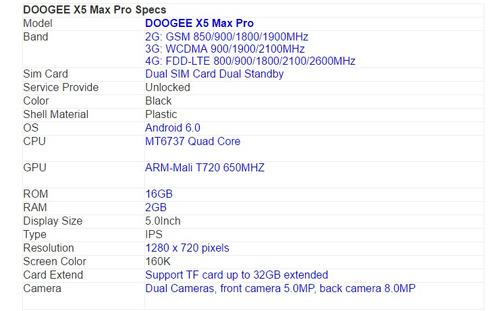 celular doogee x5 max pro  dual sim, 16gb 2 ram