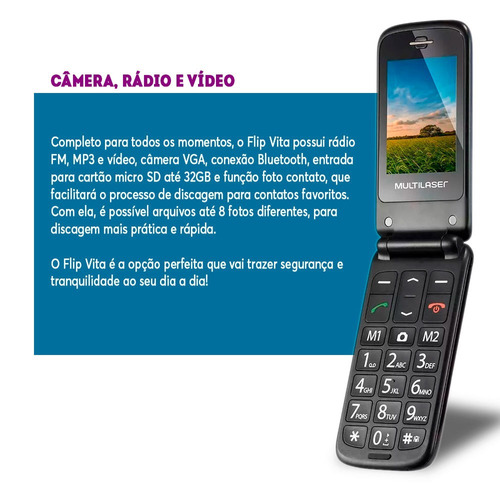 celular flip azul para idoso dual chip mp3 multilaser p9020