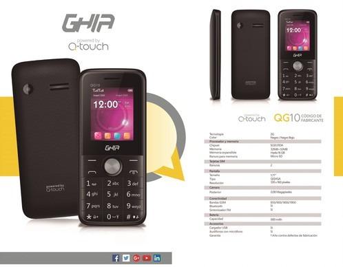 celular ghia qg10 1.77   sim doble  bluetooth negro/rojo