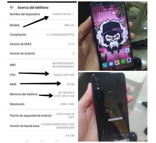celular huawei p20 lite original. sin detalles. con todo