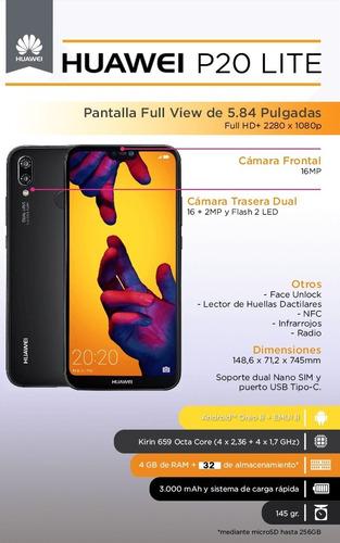 celular huawei p20 lite reconocimiento facial huella y mas