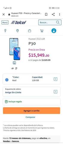 celular huawei p30 128gb y 6 gb de ram