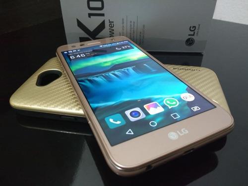 celular lg pawer k-10 metal gold 32 gb tela 5,5  ócta 4gb r.