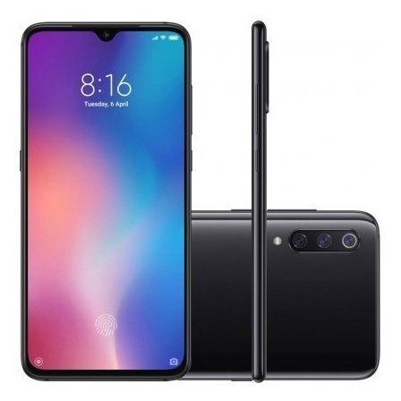 celular mi 9 128gb dual chip preto / azul global   novo