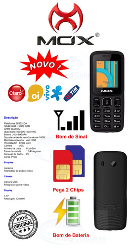 celular mox m340 dual chip rádio fm laterna barato p/ idoso