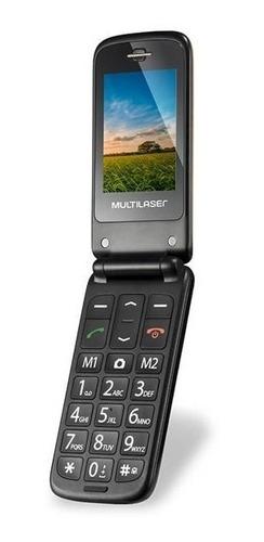 celular multilaser flip vita dourado p9043 p/ idoso sos