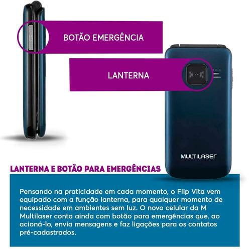 celular multilaser p9020 para idoso botão sos flip promoção