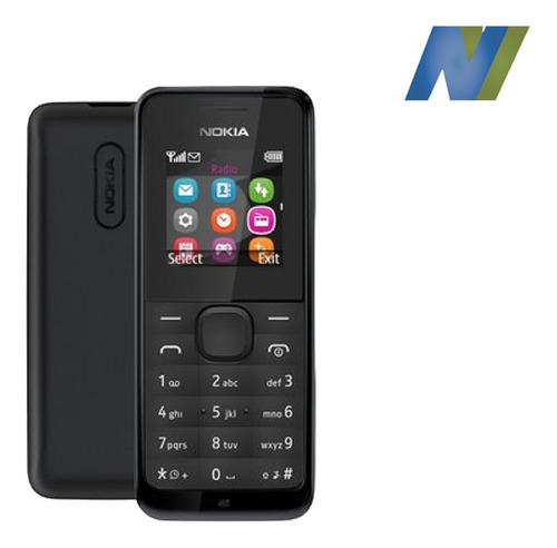 celular nokia 105, en negro y azul, homologado inc. iva