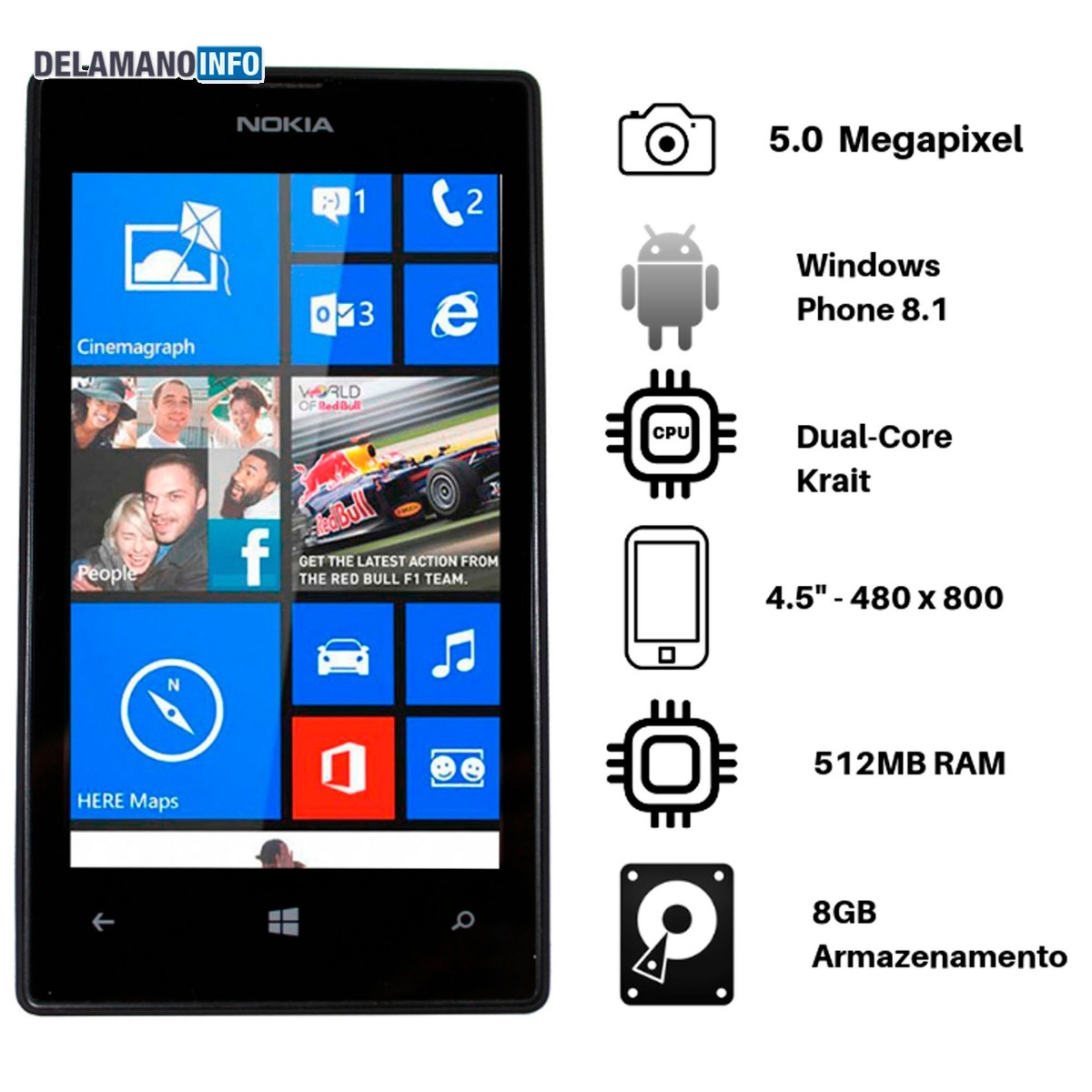 94cd62f32c0d9 Celular Nokia Lumia 520 4 Seminovo Original (11749) - R  247