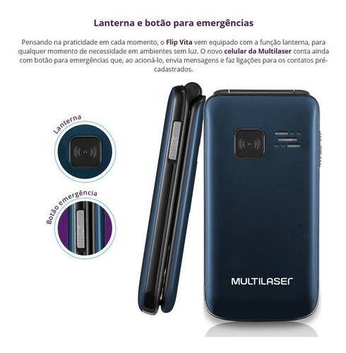 celular p idosos flip vita multilaser p9021 dual chip, sos