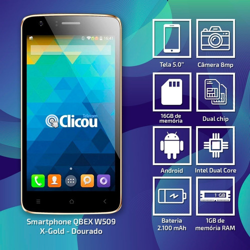 celular qbex w509 gold intel tela 5.0 dual 3g 16gb 8mp novo