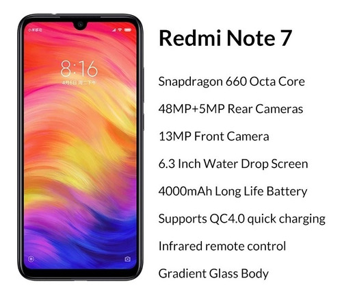 celular redmi note 7 global version 3gb 32gb 48mp brasil