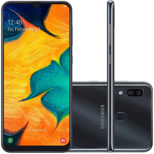 celular samsung a30 preto 64gb 6.4'' 4gb ram 16mp dual chip