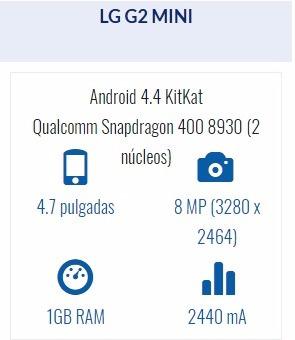 celular smartphon lg g2 mini 4g caja y funda lg funcionando