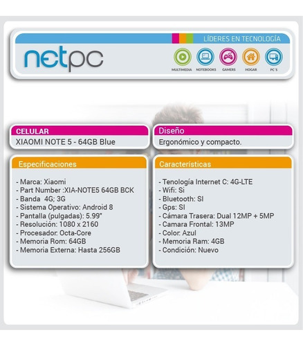 celular xiaomi note 5 64gb blue netpc