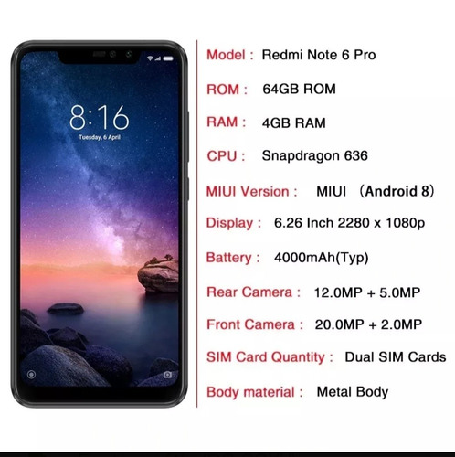 celular xiaomi redmi note 6 pro 64gb 4 ram capa+fone+pelicul