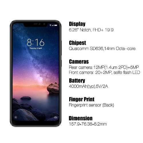 celular xiaomi redmi note 6 pro 64gb rom 4gb + capa película