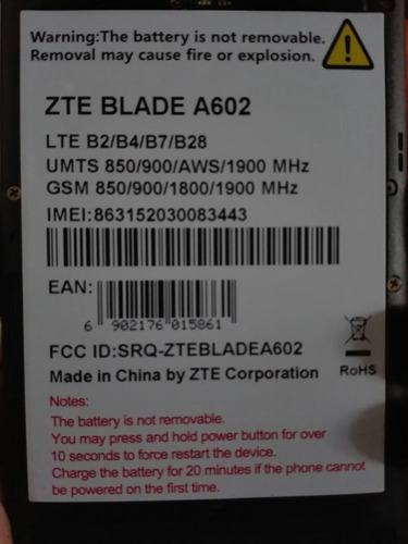 celular zte blade a602