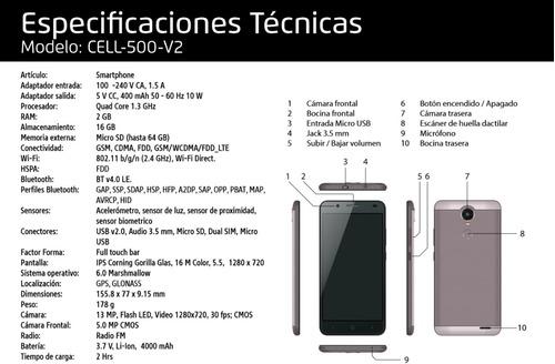 celulares baratos android 6.0 64gb 5.5 ips vorago 500-v2-pl