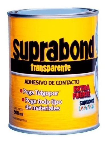 cemento contacto pegamento transparente suprabond 1/4 litro
