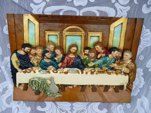 cena policromada en madera