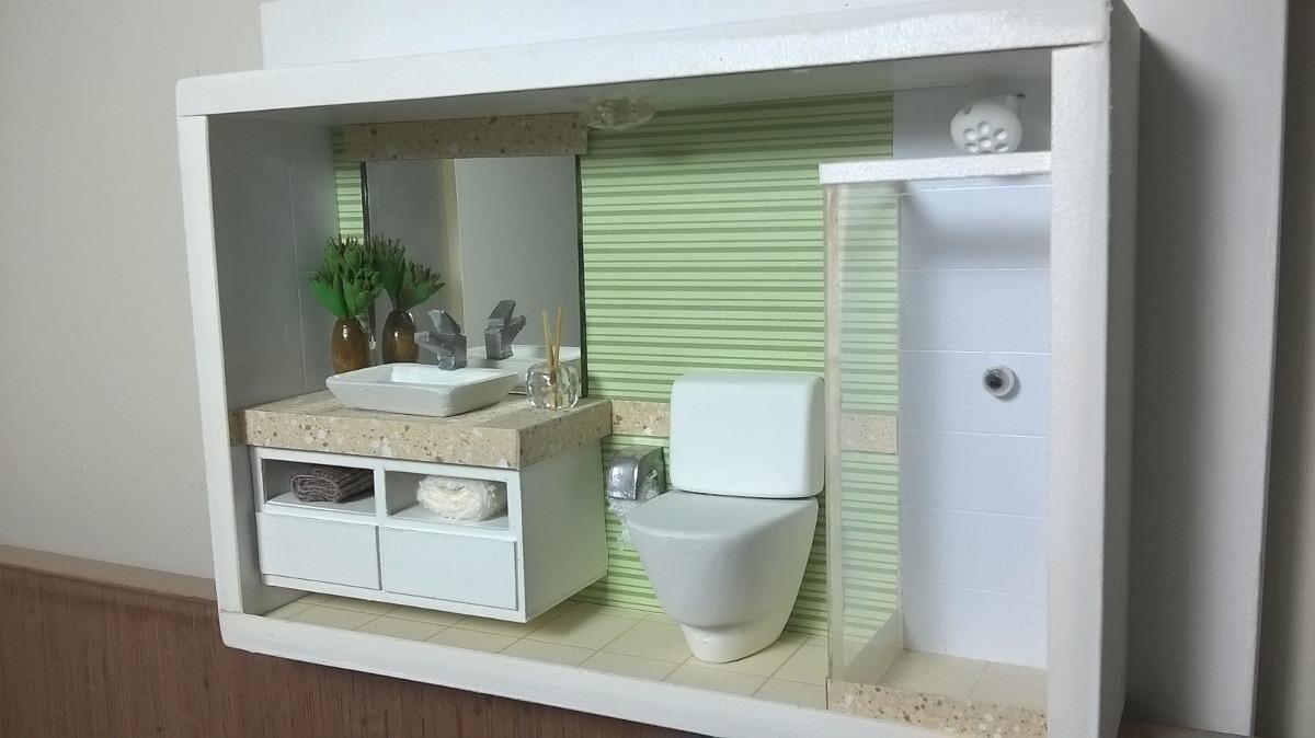 Kit Banheiro Moldenox : Cen?rio quadro de banheiro moderno em miniatura com led