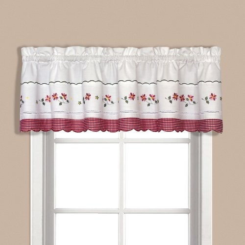 cenefa bordada guinga unida de la cortina, 60 por 14 pulgad