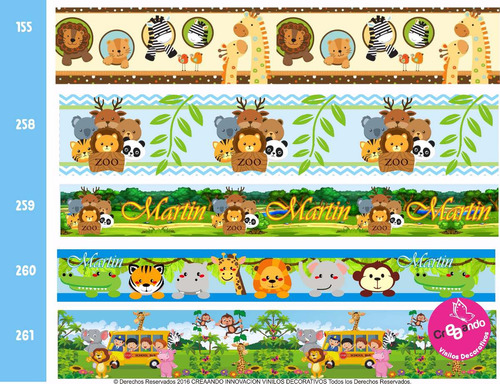 cenefas decorativas adhesivas infantiles 8 mtsx18 cm  / cali