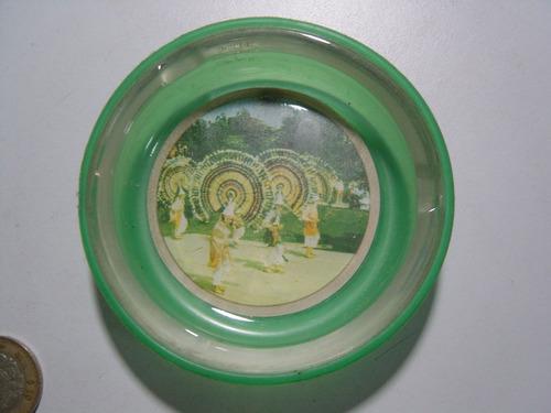 cenicero danza 1968 vidrio y base de plástico méxico penacho