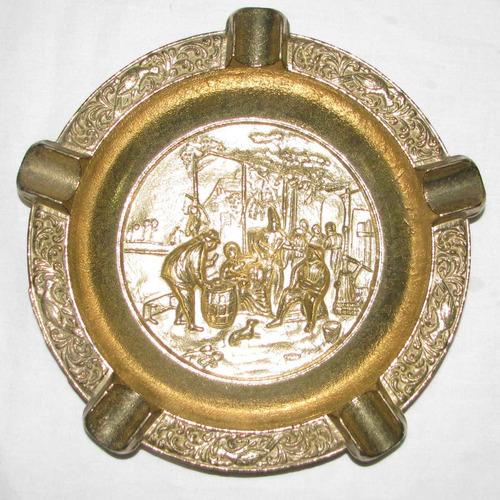 cenicero de bronce dorado grande 22cm diametro restaurant