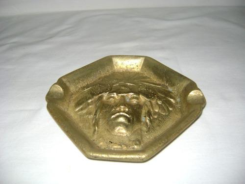 cenicero de bronce macizo antiguo